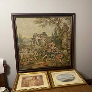 Lot # 146 - Framed tapestry and other art