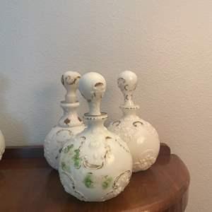 Lot # 150 - Dithridge Milk Glass Apothecary Vanity Barber Bottle Decanters with Gold Cruet Trim