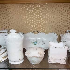 Lot # 154 - Dithridge Milk Glass Apothecary Vanity Barber Bottle Decanters with Gold Cruet Trim