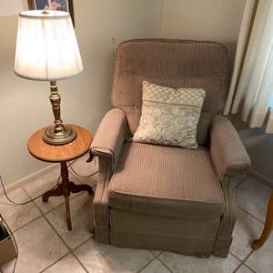 Lot # 169 - Recliner with side table and lamp
