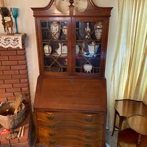 Lot # 190 - Antique secretary (does not include any of the items on it or in it)