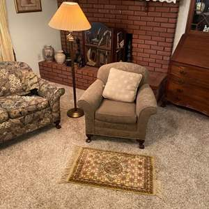 Lot # 191 - Chair, floor lamp with rug
