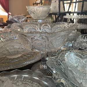 Lot # 201 - Large collection of pressed glass