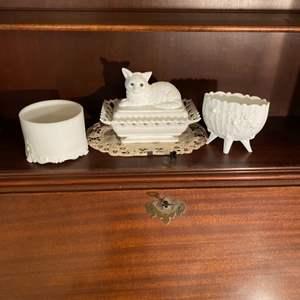 Lot # 213 - Milk glass treasures