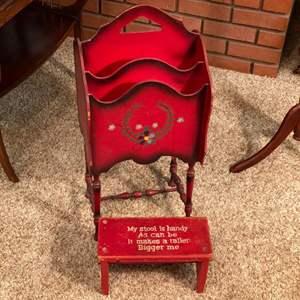 Lot # 215 - Magazine rack and footstool