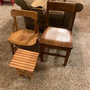 Lot # 216 - Two children's chairs and side table