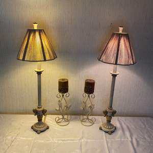 Lot # 233 - Iron table top lamps and candle sticks