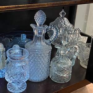 Lot # 243 - Pressed glass items