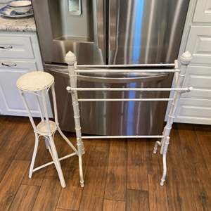 Lot # 245 - Vintage plant stand and rack