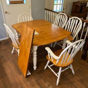 """Lot # 248 - Kitchen table with 5 chairs and 1 - 18"""" leaf"""