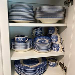 Lot # 251 - Wedgwood Queen's Ware Romantic England Blue Moreton Old Hall