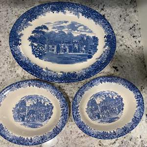 Lot # 252  - Wedgwood Queen's Ware Romantic England Blue Moreton Old Hall Serving platter & Serving bowls