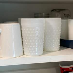 Lot # 258 - Every day dishes and milk glass cups