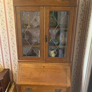 Lot # 268 - Antique secretary with inlaid wood details, contents included