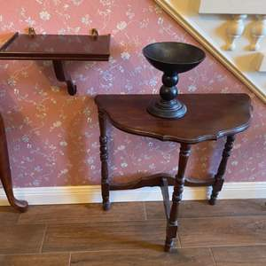 Lot # 270 - Half round hall table, hanging shelf and wooded bowl