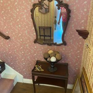 Lot # 271 - Carved mirror with table and decor