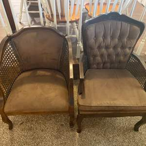 Lot # 282 - Two vintage chairs with cane sides