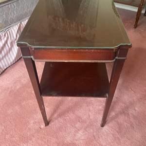 Lot # 305 - Mahogany table with custom cut glass