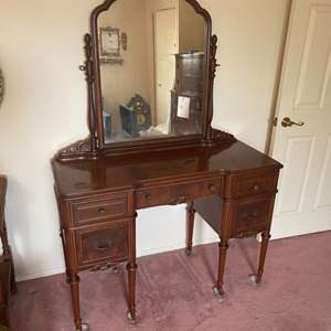 Lot # 307 - Antique vanity with stool