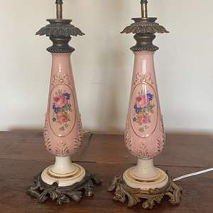 Lot # 310 - Matching pink porcelain lamps with extra