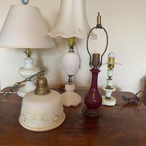 Lot # 311 - Collection of vintage lamps, porcelain and milk glass