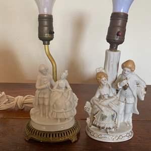 Lot # 313 - Two porcelain figurine lamps