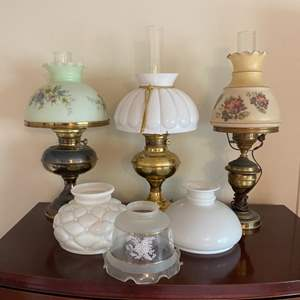 Lot # 314 - Antique lamps with glass shades
