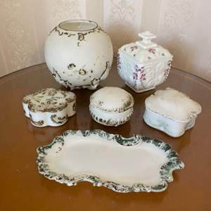 Lot # 317  - Victorian Milk glass items