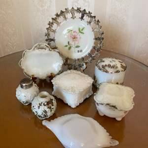 Lot # 319  - Victorian Milk glass items
