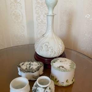 Lot # 320  -Dithridge Milk Glass Apothecary Vanity Barber Bottle Decanters with Gold Cruet Trim and other items