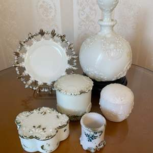 Lot # 321  - Dithridge Milk Glass Apothecary Vanity Barber Bottle Decanters with Gold Cruet Trim and other items