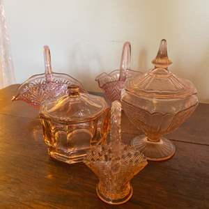 Lot # 325 - Three pieces Depression glass, two pieces new glass