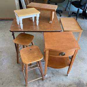 Lot # 356 - Vintage stools, small tables and foot stools