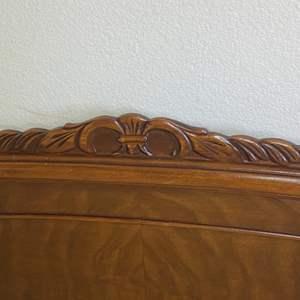 Lot # 369 - Double vintage headboard, footboard and wood rails