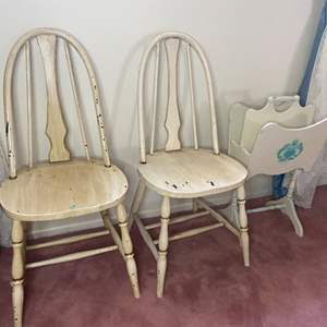 Lot # 370 - Two farmhouse chairs and magazine rack