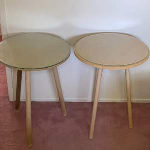 Lot # 371 - 2 MDF portable tables with glass tops