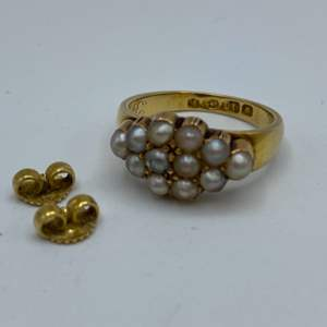 Lot # 12 - 18k gold Victorian seed pearl ring and 18 karat gold earring backs (6.2g)