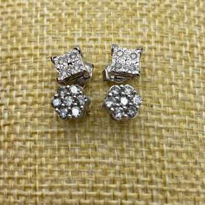 Lot # 13 - 10 karat white gold diamond cluster earrings(2.5g)