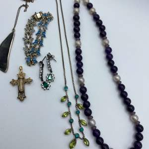 Lot # 19 - Costume jewelry set in sterling