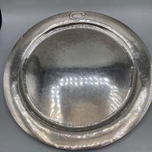 """Lot # 37 - Hand Wrought sterling platter 14"""" round (899g)"""