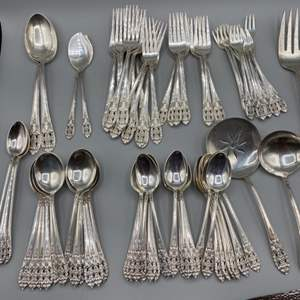 Lot # 38 - Fine Arts Sterling flatware, Crown princess design (3374g) plus (1095g weighted)