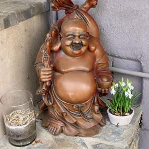 Lot # 53 - Large Buddha plus two pots