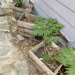 Lot # 70 -  Three square wood planter boxes