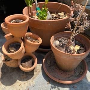 Lot # 73 - Terra-cotta pots and a multi tier strawberry pot