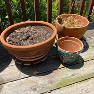 Lot # 79 - Three terra-cotta pots