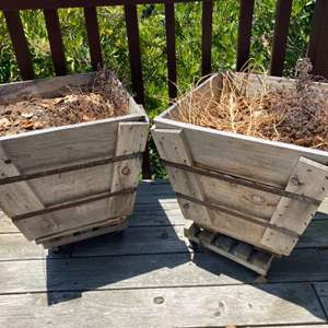 Lot # 83 - Two square wooden planter boxes