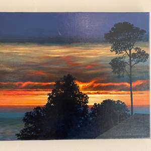 Lot # 93 - Painting of Cambria at sunset by Tom Gould