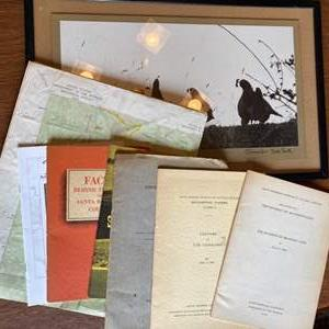 Lot # 94 - Framed photo by Dick Smith, vintage state map and vintage documents