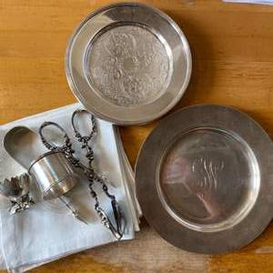 Lot # 96 - Silver plate items and formal napkins