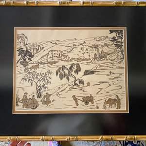 Lot # 114 - Set of three Blackwell mid century Asian framed art